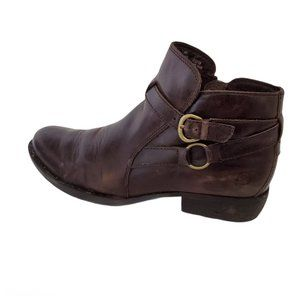 Born Baily Brown Leather Ankle Moto Boots Booties